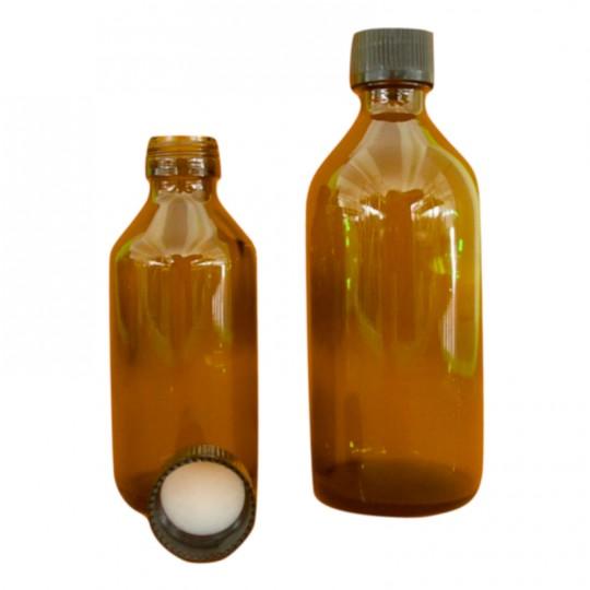 Flacone tondo in vetro ambrato scuro con tappo ermetico 100 e 200ml HomeLADY'S LINE®