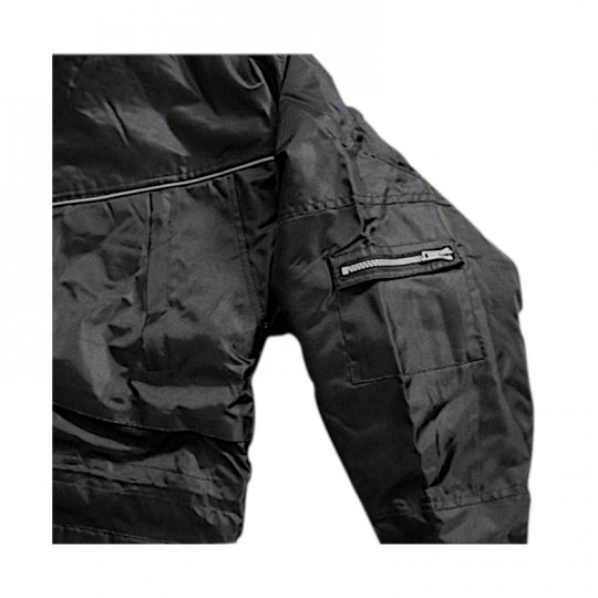 Parka nero in nylon con finiture gialle - multitasche Home